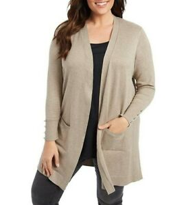 89th & Madison Truffle Heather Beige  Open Front Cardigan Sweater Size 1X NWT
