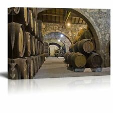 "Canvas Prints Wall Art - Cellar with Wine Barrels | Modern Wall Decor- 24"" x 36"""