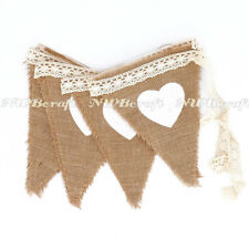3M Hessian Heart Lace Bunting Burlap Rustic Chic Wedding Party Banner 12 Flags