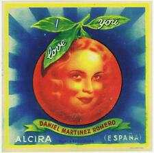 I Love You, vintage spanish orange fruit crate label, Daniel Martinez Romero