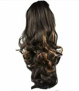 Golden Highlighted Clutcher Straight-Curls Ponytail Hair Extension/ Hair Claw