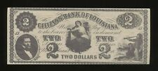 37 - 1860's CITIZENS BANK OF LOUISIANA $2 BILL NOTE OBSOLETE CURRENCY