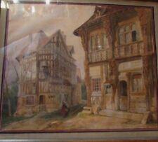 ancien tableau aquarelle signé tony joannot vieille ville rouen ou joigny XIXE