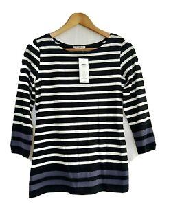 Hot Options Women's Border Stripe Top Size 14 Grey Brand New Stretch LS