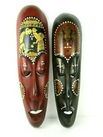 Bali Tiki Tribal His & Hers Pair Hand Carved African Wooden Wall Mask