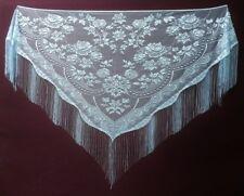 Light Blue Victorian Style Lace Fringe Shawl