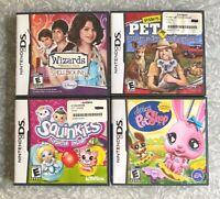 4-Game Nintendo DS Lot Waverly Place, Pet Vet, Squinkies & Littlest Pet Shop VG