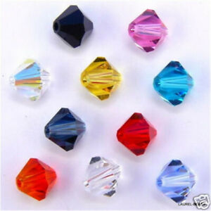 New Diy 4Mm 100Pcs Mix Crystal Glass Loose Spacer Beads Making Bracelet Jewelry