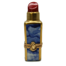 Limoges France Peint Main GR Porcelain Trinket Box Red Lipstick Blue Marble Case