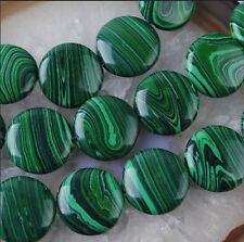 12mm Green Multicolor Malachite Gem Coin Loose Bead 15''