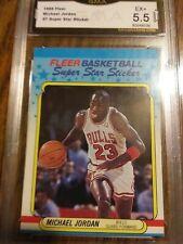 1988 Fleer Michael Jordan #7 Super Star Sticker GMA 5.5