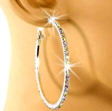 Big Rainbow JEWELS Silver CZ Hoop Earrings Paved Crystal Rhinestone Earings 45mm
