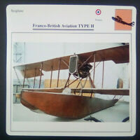 Seaplane Franco-British Aviation Type H Airplane Photo Card w/ Specifications