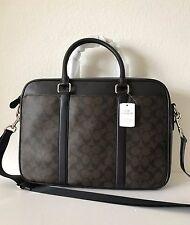NWT Coach 54803 Men's Mahogany Brown Signature PVC Slim Brief Briefcase Bag