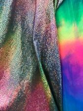Dragon Reptiles Gold Metallic Print On Rainbow Tie Dye Spandex Fabric Sold -Yard