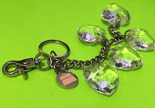Kathy Van Zeeland Silver Tone Faceted Heart Pendant Purse Charm Chunky Keychain