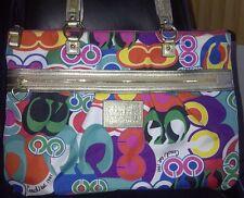 COACH POPPY POP C GLAM LARGE BAG TOTE PURSE F20080 PINK/RED/PURPLE/BLUE - RARE