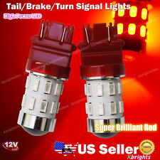2pcs 3157 3156 LED Tail Brake Stop Turn Signal Light Bulb Red Projector Lens #ba