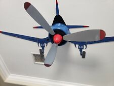 Hunter Ceiling Fan Fantasy Flyer Airplane 48 in. Indoor Blue Flush Mount Kids