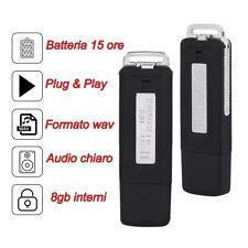 MICRO MINI REGISTRATORE VOCALE SPY SPIA  NASCOSTO AMBIENTALE PEN USB
