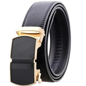 Black Belt Gold Buckle Mens Adjustable Ratchet Slide Buckle Belt - Genuine Leath
