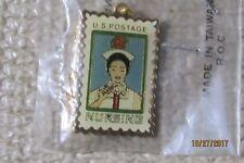 Postage Stamp Pinback Metal Pin Vintage- Usps Nursing Necklace with a