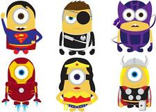 JOBLOT OF 6 MINION HEROES MINI/SMALL IRON ON T SHIRT TRANSFERS WHITE FABRICS