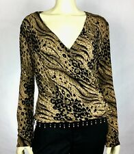 Ronni Nicole M L Sexy Animal Print Embelished Beaded Blouse Top V-Neck A31-14
