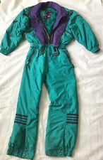 Vintage SKI SUIT Green Purple MOUNTAIN GOAT One Piece Snowsuit WOMENS 16 XL