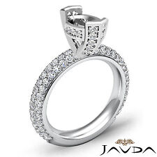 Pave Diamond Engagement Half Eternity Ring 1.4Ct 18k White Gold Oval Semi Mount