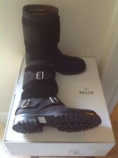 BALLY OF SWISS MANS $1485 CELYON BLACK SHEARLING LEATHER BOOTS NWBOX SZ. 8.5