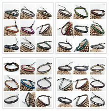 Hand Made 4mm Mixed Gemstones Beads one Wrap Leather Bracelet XJ005