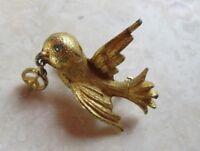 Vintage Peace Dove Pin, Cute Goldtone Dove Holding a Peace Sign