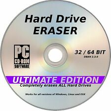Erase wipe format delete hard drive Eraser CD for PC &Laptop computer Window 10