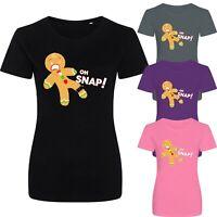 Oh Snap! Gingerbread Man Christmas Xmas Funny Slogan New Womens T-shirt