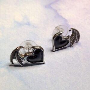 Alchemy Gothic Pewter Enamel Black Soul Winged Heart Stud Earrings UK Made E444