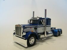 DCP FIRST GEAR 1/64 SCALE 359 PETERBILT SMALL BUNK, BLUE & WHITE SEMINOLE STRIPE