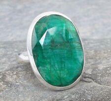 Large 925 Silver Cut EMERALD Ring Sz Q 1/2-8.5 R034~Silverwave*uk Jewellery