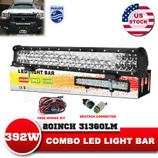 20inch 392W Philips LED Light Bar Spot Flood Work Lamp Offroad VS Tri Row 6D 7D
