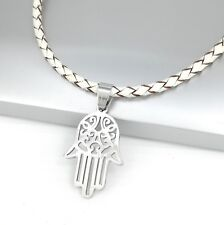 Silver Hamsa Khamsa Hand Stainless Steel Pendant Braided White Leather Necklace