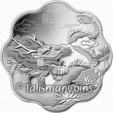 Canada 2012 Year Dragon Lotus Scallop Shaped $15 Pure Silver Proof in FULL OGP