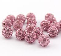 Shamballa Beads 100 Pcs Crystal Pave Disco Balls Fit Bracelet 10MM Pink