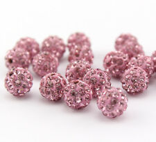Shamballa Beads 100 Pcs Crystal Pave Disco Balls Fit Bracelet 10MM Pink