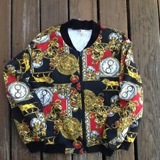 Vintage 80s Black Red Gold Quilted Watch Lion Bomber Jacket Womens Large 1980s