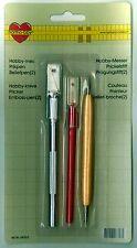 Set mit 1 Hobbymesser / Bastelmesser, 1 Prickelstift & 1 Prägestift