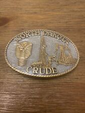 Vintage 1980 North Dakota Crude 24k Gold Plated Belt Buckle *NEW*