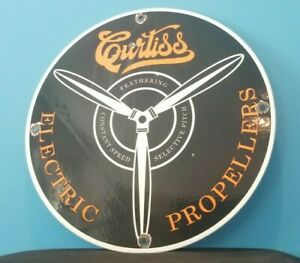 VINTAGE CURTISS AVIATION PORCELAIN GAS AIRPLANE ELECTRIC PROPELLERS SERVICE SIGN
