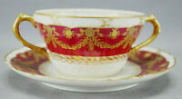 GDA Limoges Gold Floral & Ribbon Garlands & Red Bouillon Cup & Saucer AS IS