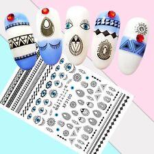 Nail Art Stickers Transfers 3D Self Adhesive Black Symbols Eyes (XF3100)
