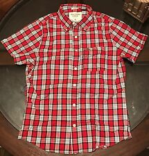 Abercombie & Fitch Mens Short Sleeve Sport Shirt Muscle Fit Plaid Sz S Red New!!